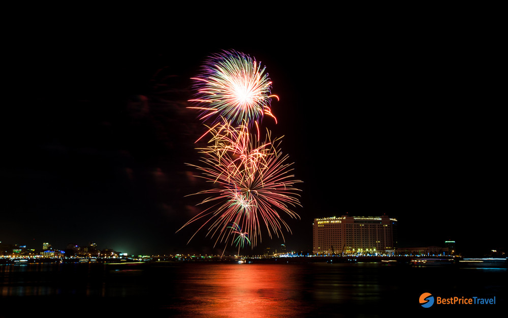 fireworks after Cambodian rowing festival