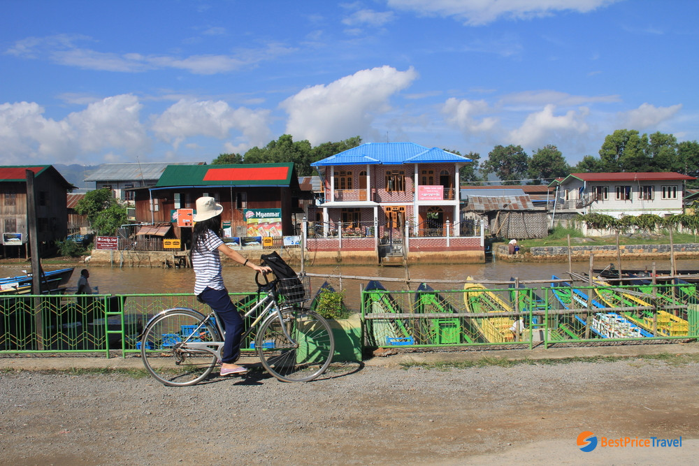 Tourist with a rental bicycle in Nyaung Shwe Town