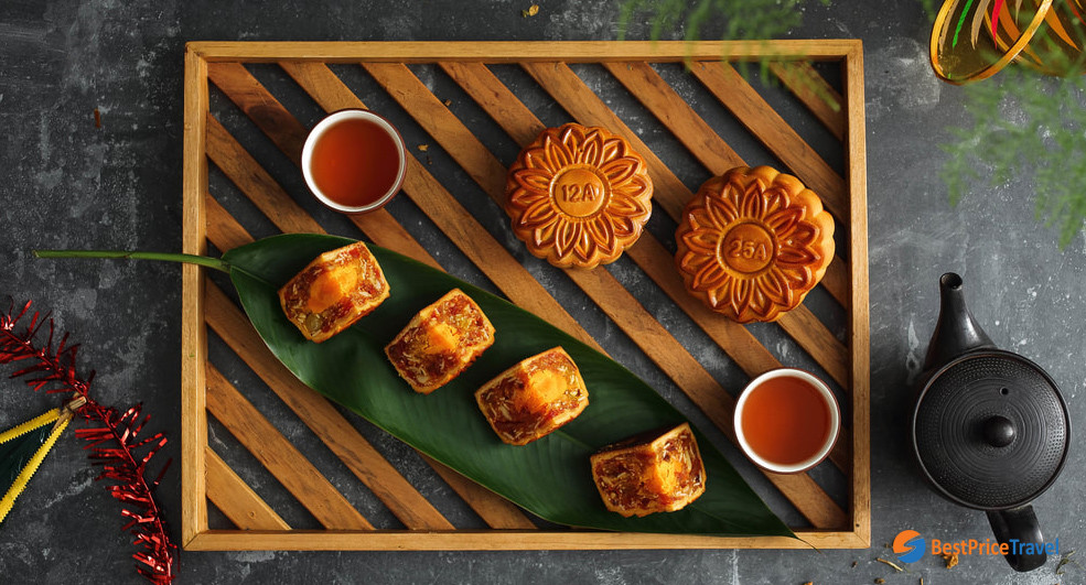 Vietnamese mooncakes are best served with tea