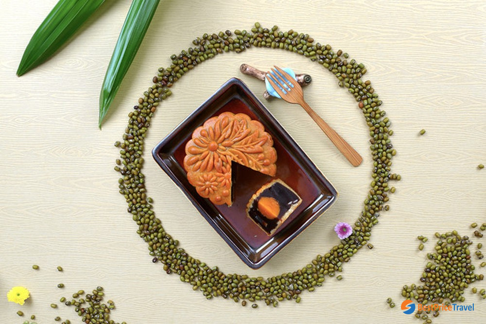 Baked mooncake with filling made from red bean paste