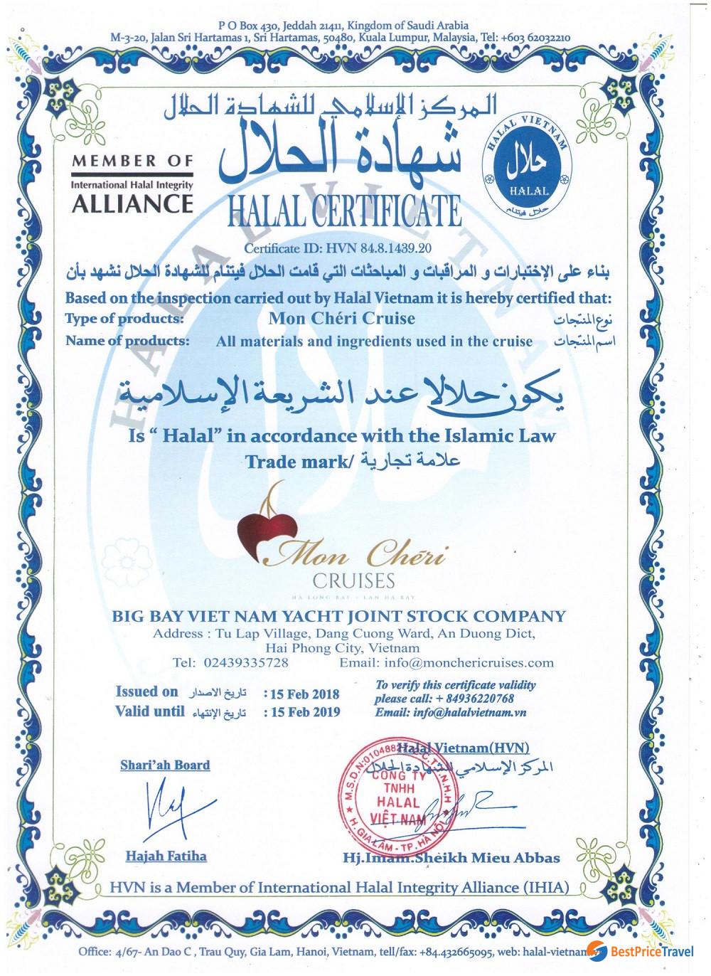 Mon Cheri Cruise's Halal Certificate