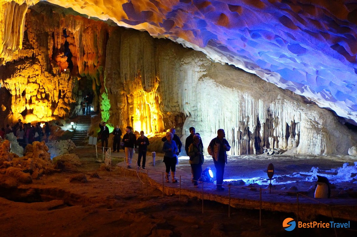 Thien Cung Cave is a familiar attraction with full day itinerary in Halong Bay
