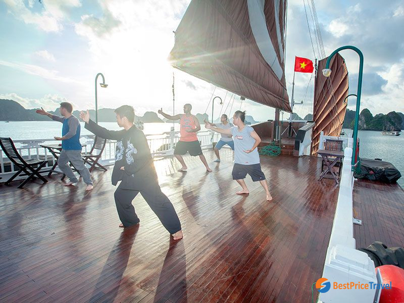 Tai Chi session on deck available for every 2 days itinerary