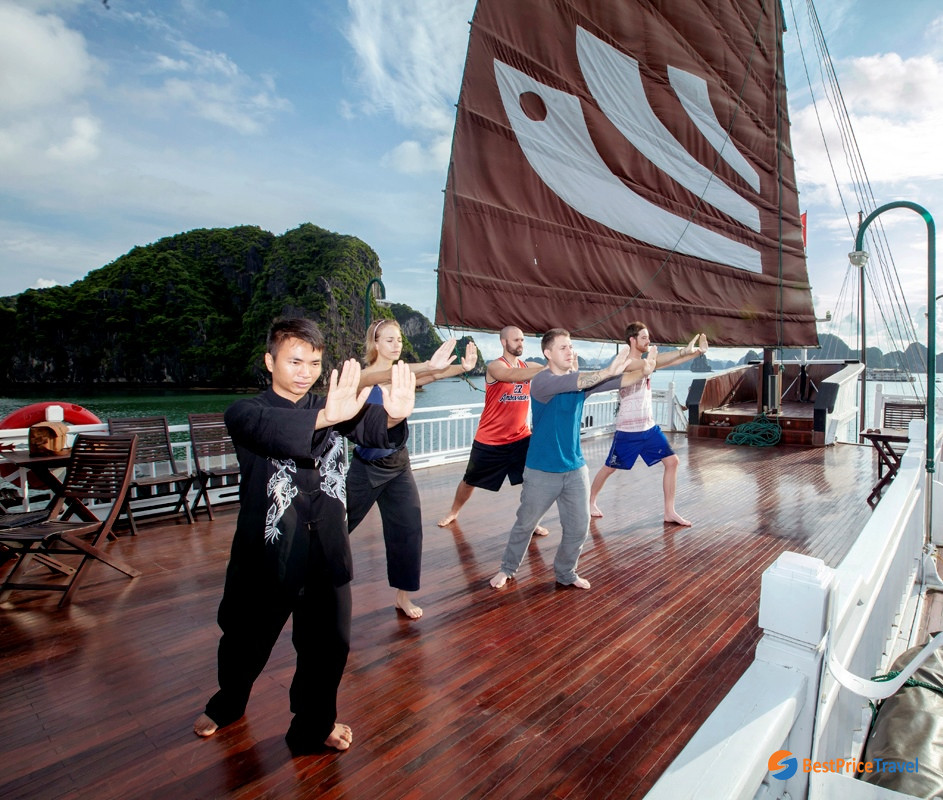 Tai Chi session on 3-day Halong Bay Cruise