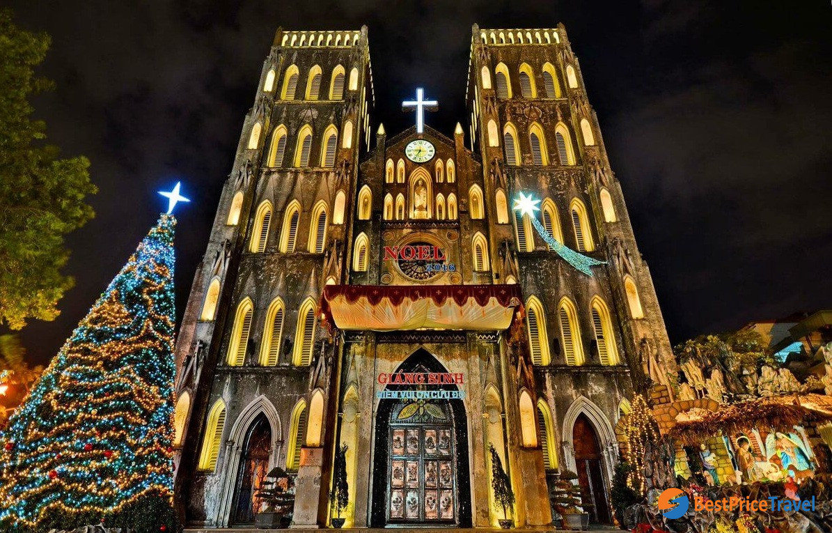 St. Joseph's Cathedral Hanoi in Christmas night