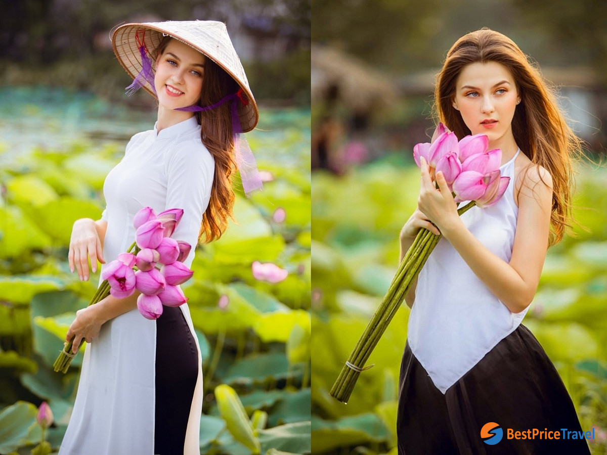 Ao dai with lotus - Vietnam Photography