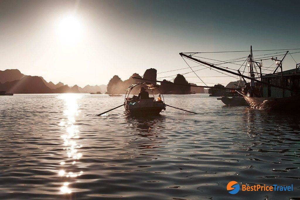 Daily photo of local fishermen in Halong Bay