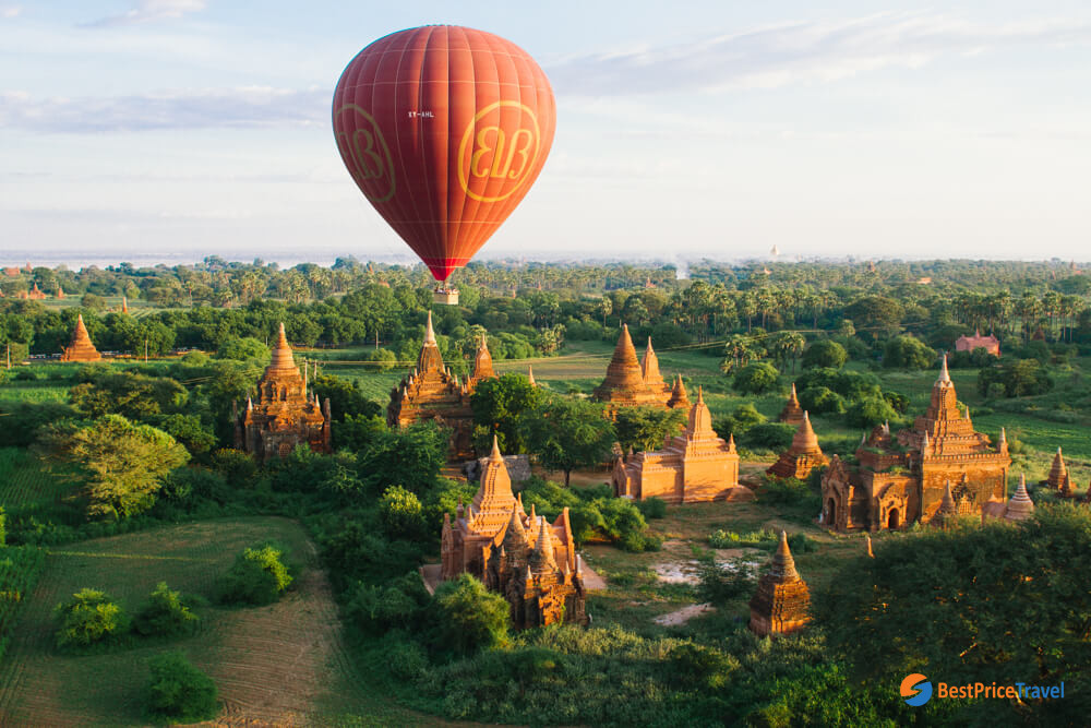 Impressive view of balloon ride over Bagan