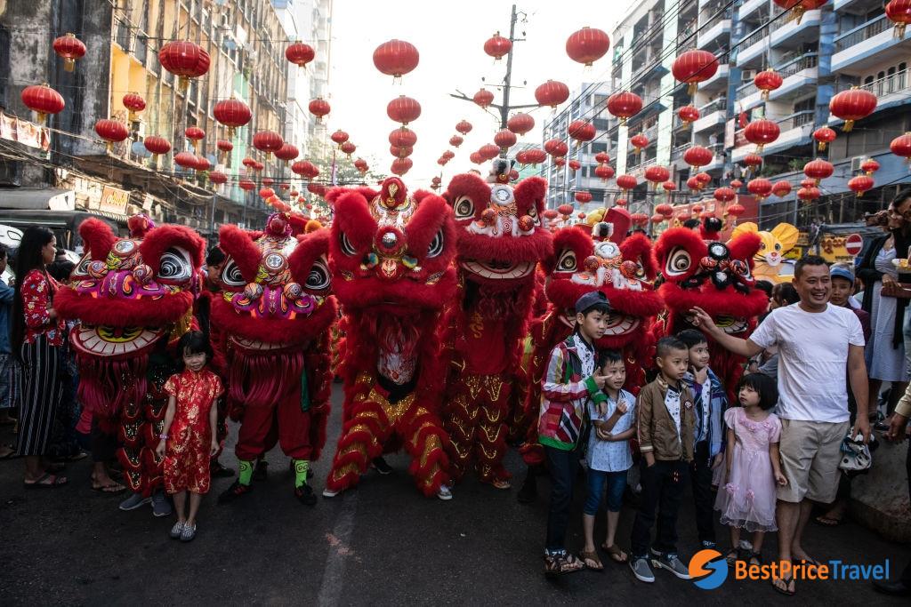 Yangon Chinatown on Lunar New Year Day