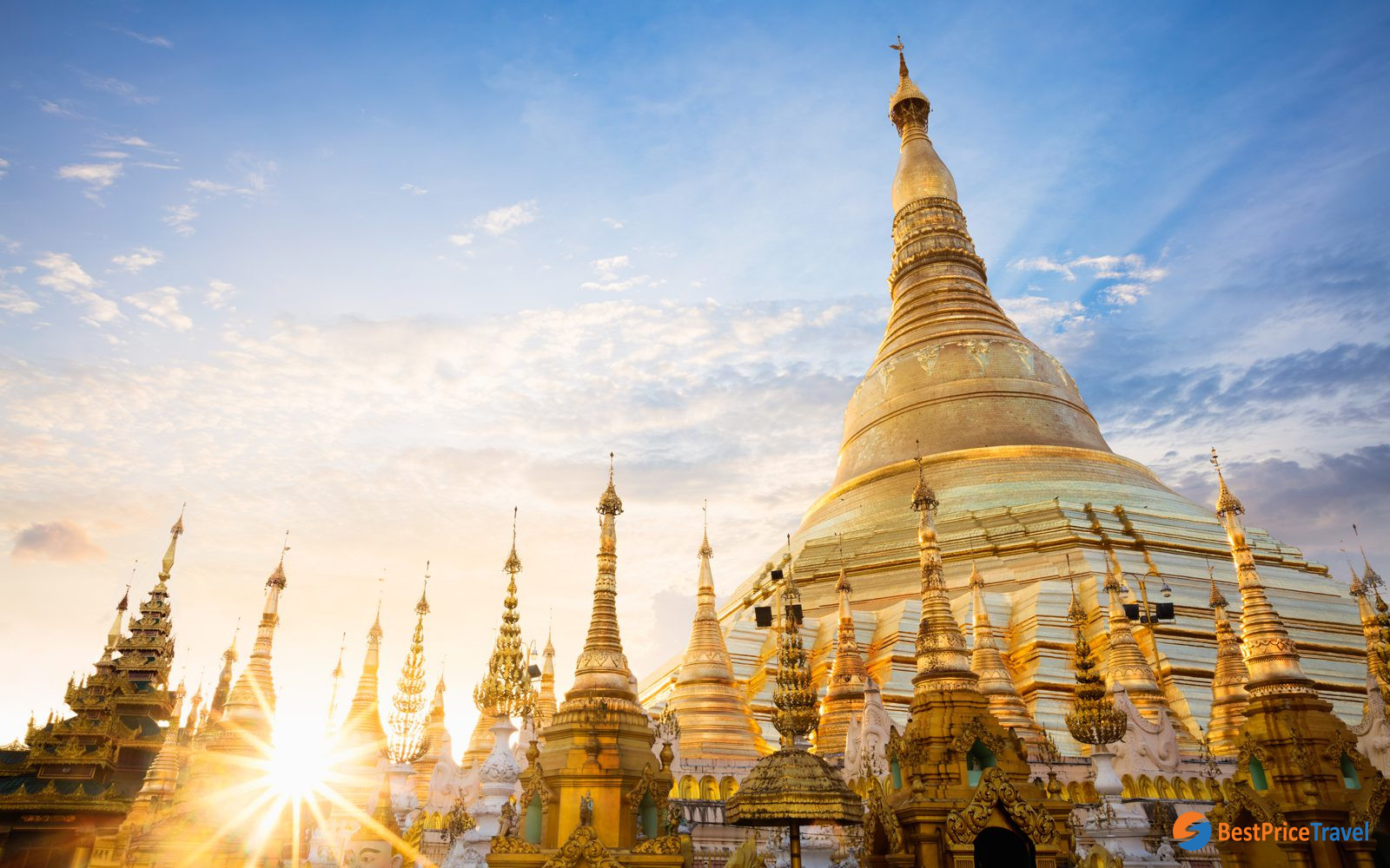 Sweet sunset with floating clouds over dreamy Shwedagon Pagoda