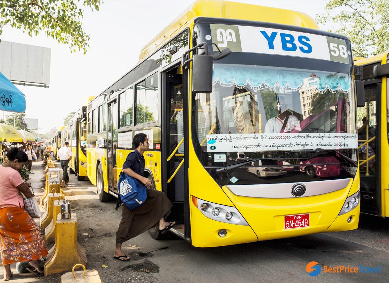 YBS (Yangon Bus Service) is a budget way to travel around Yangon, Myanmar