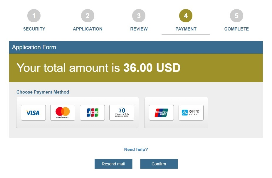 Cambodia e-visa payment