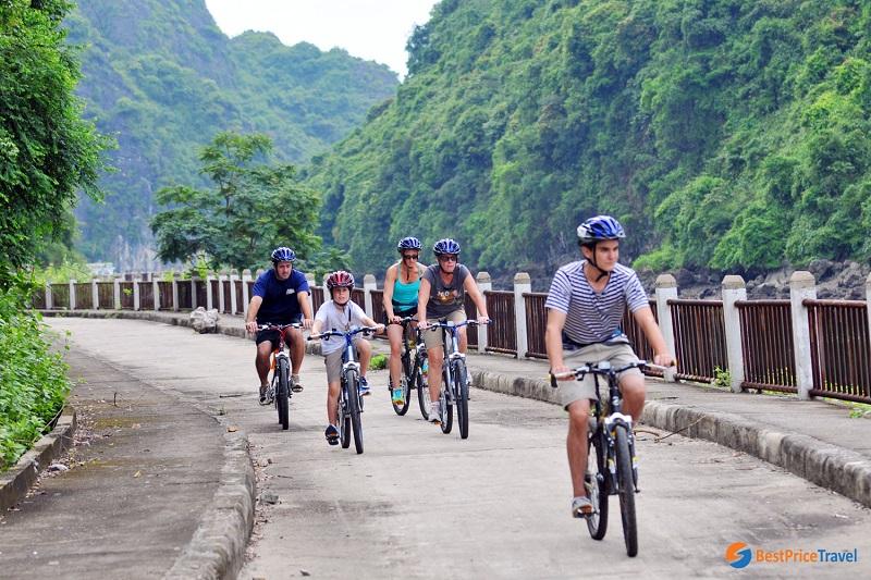 cycling in Halong bay