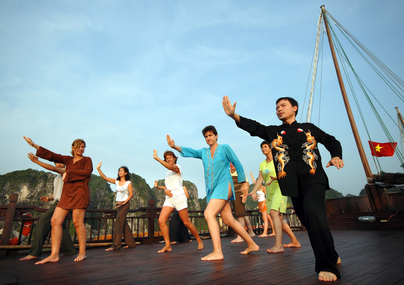 Tai Chi exercise on Halong Bay Cruise