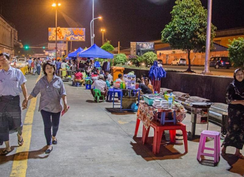 Night Market Along Maha Bandula Park Yangon night market