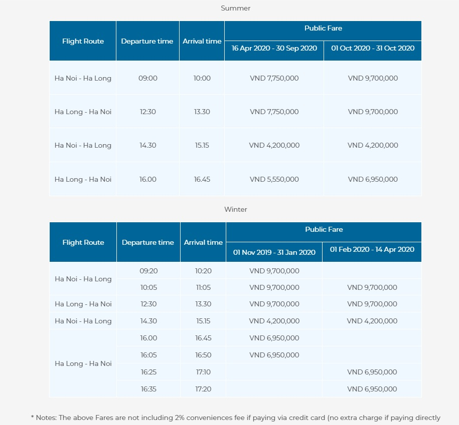 Hanoi to Halong Bay seaplane scheule