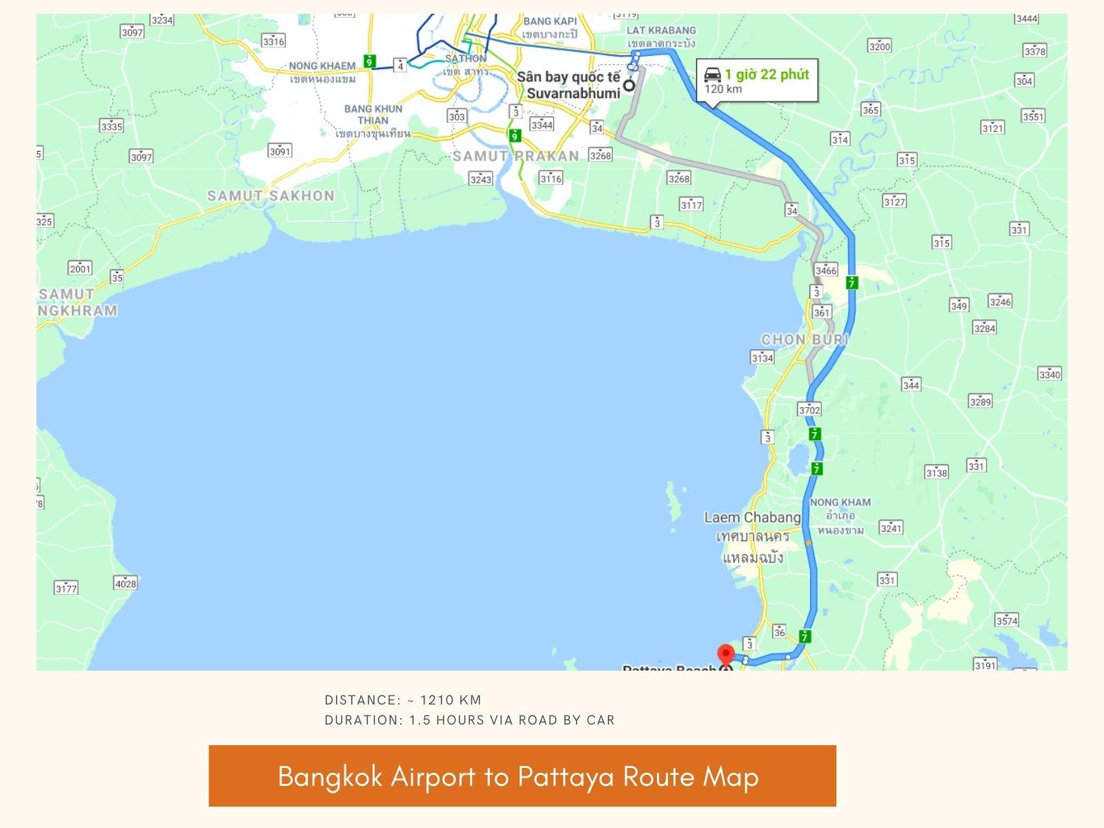 Bangkok Airport to Pattaya travel time & duration