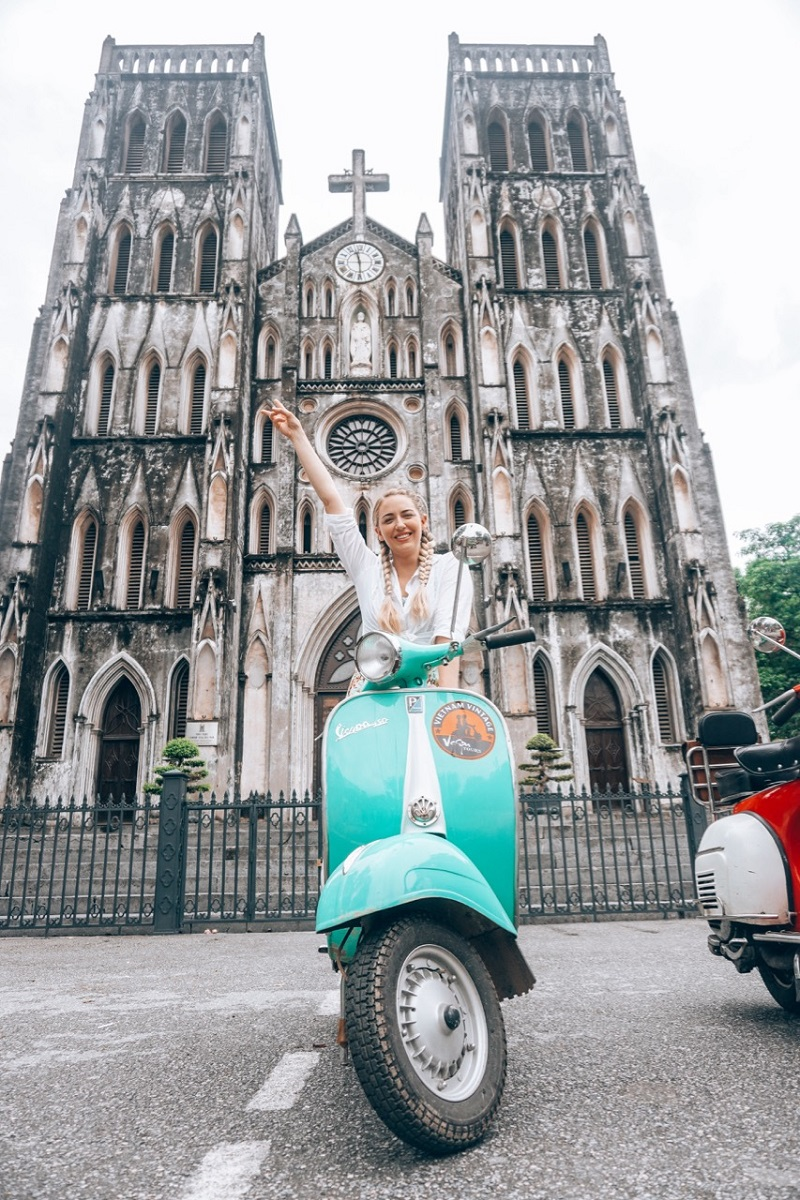 Riding scooter in Vietnam
