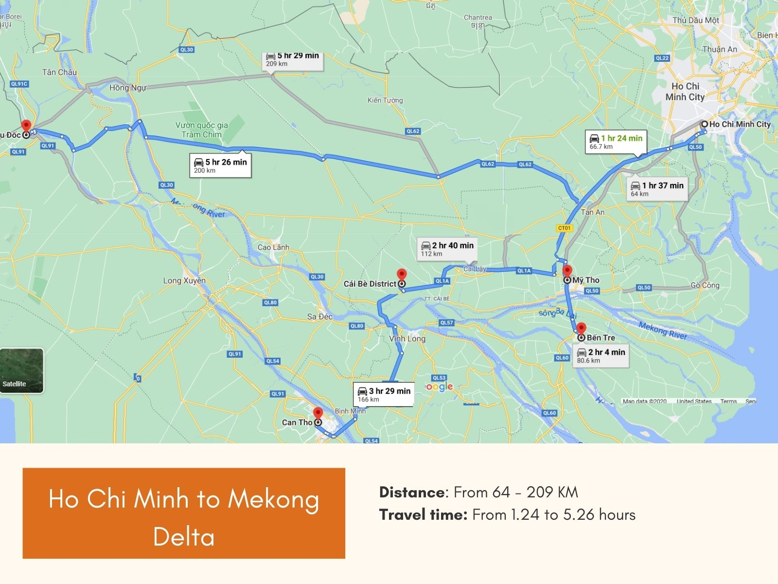 Ho Chi Minh to Mekong delta route maps