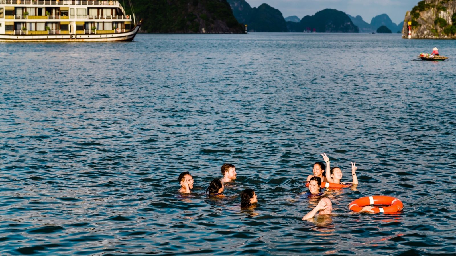 Swimming in Halong
