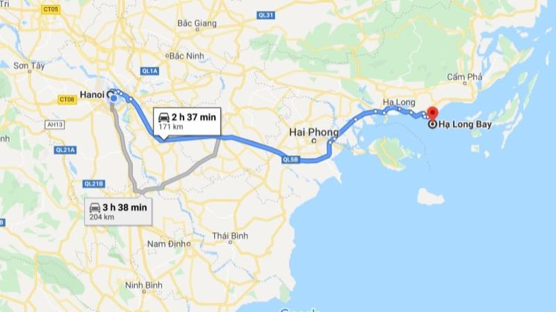 Hanoi to Halong Bay distance and travel time