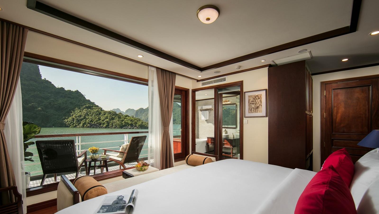 Beautiful cabin on overnight Halong cruise