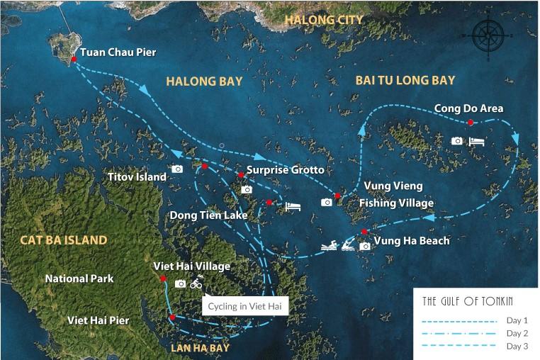 Halong Bay cruise itinerary map