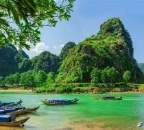 Boats On The River At Phong Nha Ke National Park