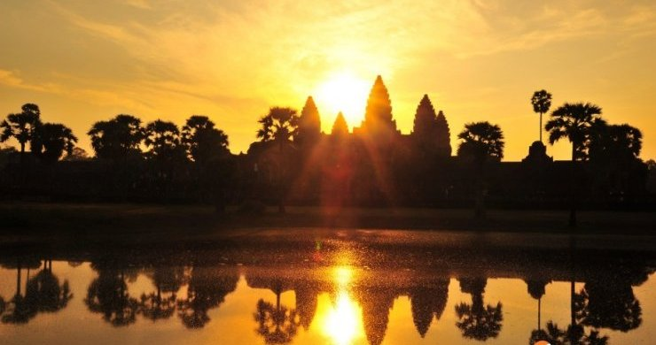 spectacular sunrise in front of Angkor Wat