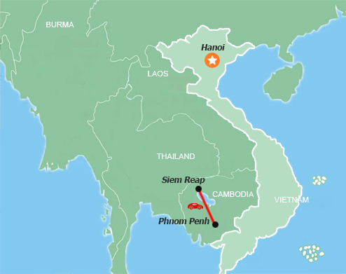 Cambodia Delights 4 Days Map
