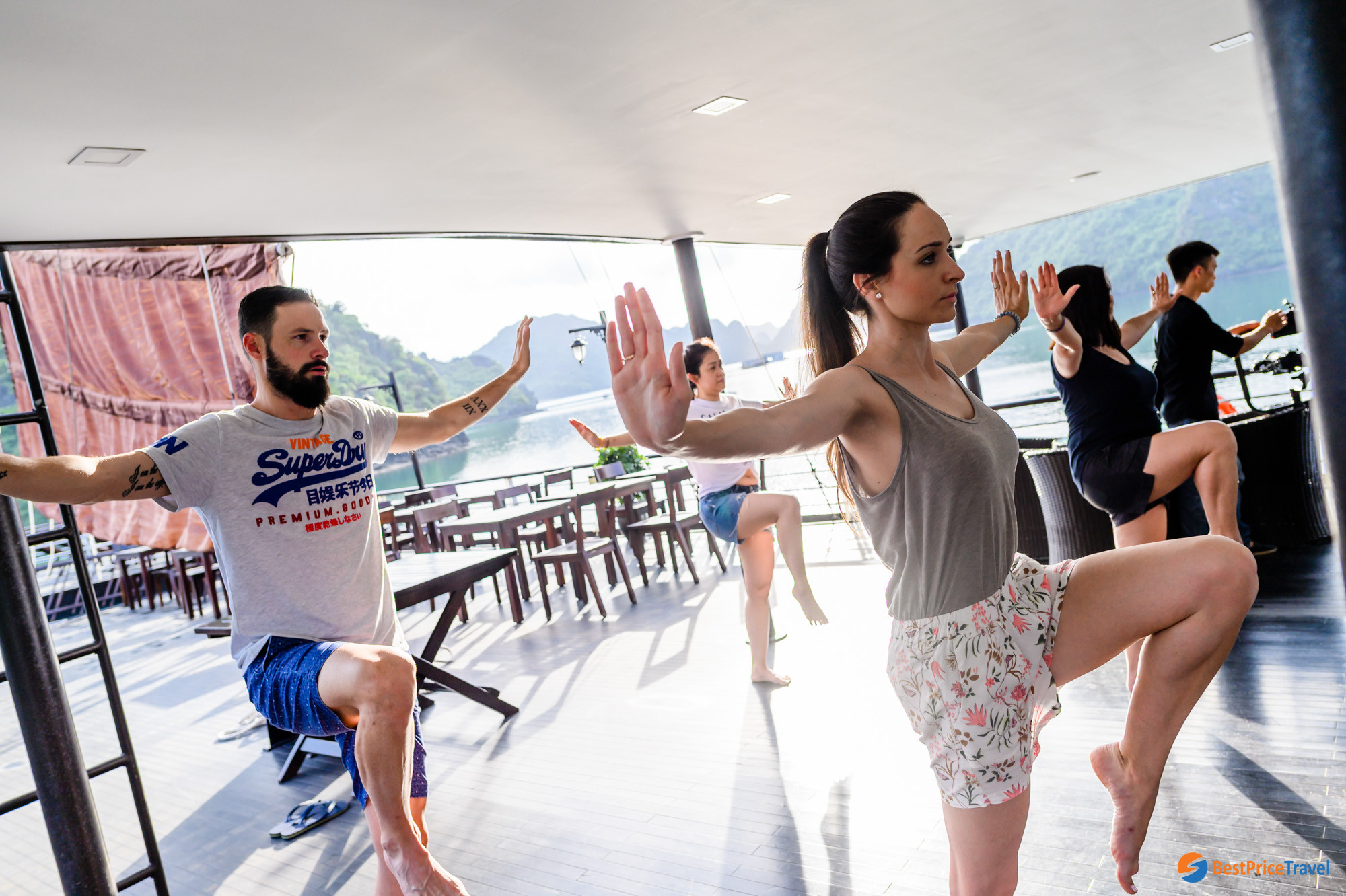 Tai Chi on Sun Deck of Mon Cheri Cruise